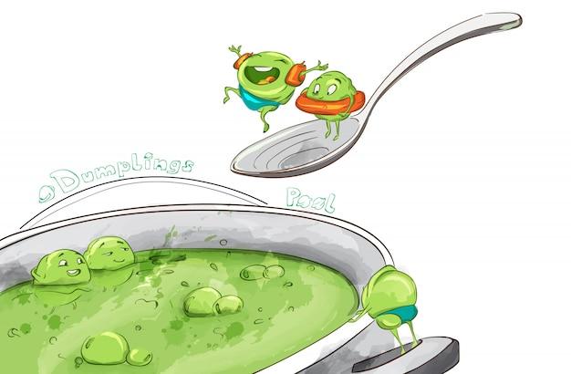 Dumpling suppe lustige karikatur