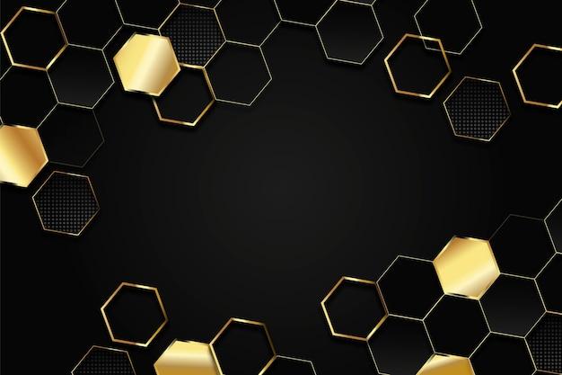 Dunkel mit goldenem polygonalen hintergrund Premium Vektoren