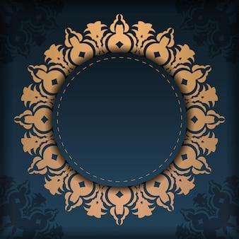 Dunkelblaue einladungskartenschablone mit abstrakter verzierung. elegante und klassische elemente eignen sich hervorragend zum dekorieren. vektor-illustration.