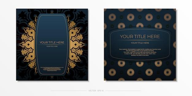 Dunkelblaue einladungskartenschablone mit abstrakter verzierung. elegante und klassische vektorelemente bereit für druck und typografie.