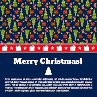 Dunkelblaue frohe weihnachtspostkarte mit textfeld und tannenbäumen
