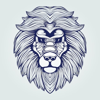 Dunkelblaue löwenkopflinie kunst