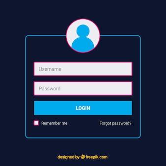 Dunkelblaue login-formular-vorlage