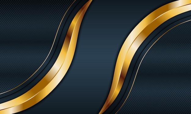 Dunkelblaue metallische und goldene streifenwelle mit linienhintergrund vektorillustration