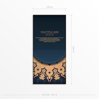 Dunkelblaue postkartenschablone mit abstrakter mandalaverzierung. elegante und klassische elemente bereit für druck und typografie. vektor-illustration.