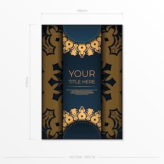 Dunkelblaue postkartenschablone mit abstrakter verzierung. elegante und klassische elemente bereit für druck und typografie. vektor-illustration.