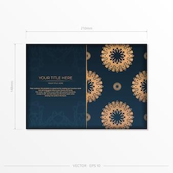Dunkelblaue postkartenschablone mit abstrakter verzierung. elegante und klassische elemente eignen sich hervorragend zum dekorieren. vektor-illustration.