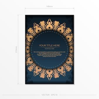 Dunkelblaue postkartenschablone mit indischer mandalaverzierung. elegante und klassische elemente bereit für druck und typografie. vektor-illustration.