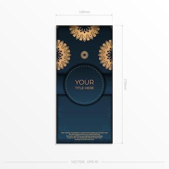 Dunkelblaue postkartenschablone mit indischer mandalaverzierung. elegante und klassische vektorelemente bereit für druck und typografie.