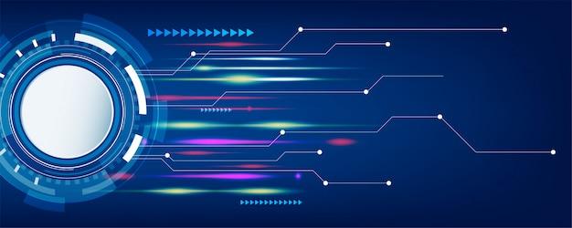 Dunkelblaue technologie und hightech- abstrakter fahnenhintergrund