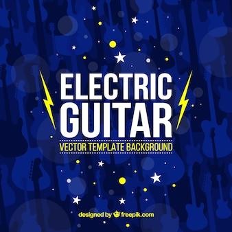 Dunkelblauen hintergrund mit dekorativen e-gitarren