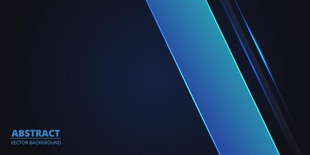 Dunkelblauer abstrakter geometrischer hintergrund mit blauen linien. modernes tiefblaues banner mit leuchtenden linien.