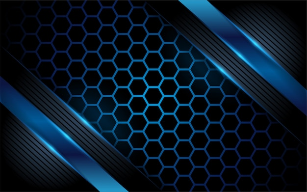 Dunkelblauer abstrakter hintergrund des hexagons