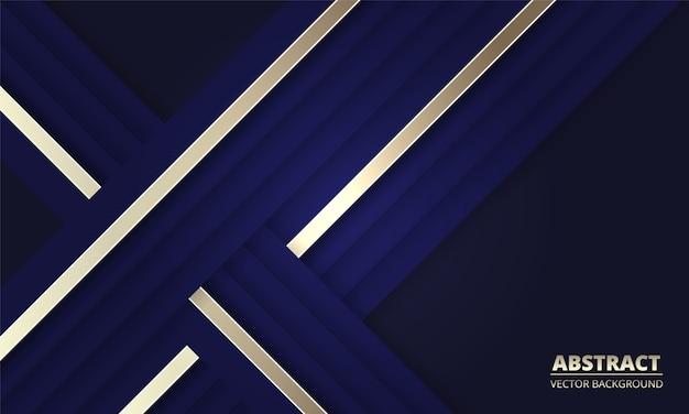 Dunkelblauer abstrakter hintergrund mit blauen und goldenen linien. modernes tiefblaues banner mit leuchtenden linien.