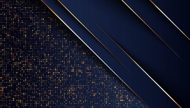 Dunkelblauer deckungshintergrund mit goldener heller linie