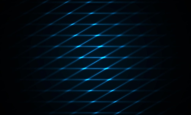 Dunkelblauer hintergrund mit futuristischem dunklem modernem technologiebanner der neonfarbe marineblaugitter.