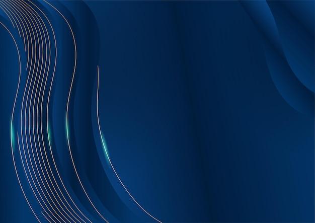 Dunkelblauer hintergrund mit goldglänzenden linienelementen für präsentationshintergrund. abstrakte vorlage dunkelblauer luxus-premium-hintergrund mit luxuriösem geometrischem muster und goldenen beleuchtungslinien