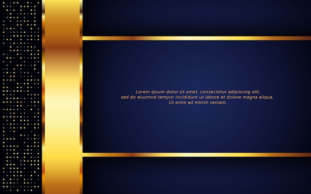 Dunkelblauer luxushintergrund mit goldenem streifen und funkeln
