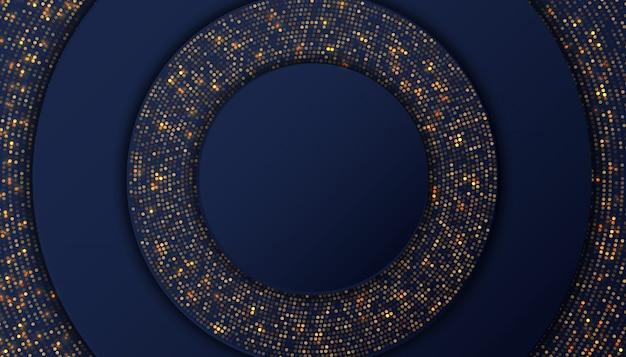 Dunkelblauer luxushintergrund mit goldenen funkelnpunkten