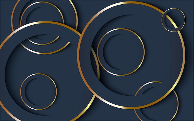 Dunkelblauer luxushintergrund mit goldlinie.
