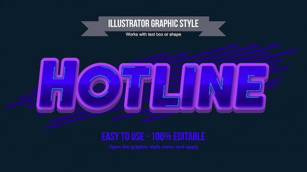 Dunkelblauer metallischer großbuchstabe bearbeitbarer texteffekt mit lila kontur Premium Vektoren
