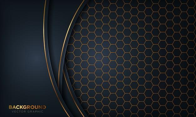Dunkelblauer überlappungsdimensionsluxushintergrund mit goldener linie auf hexagon