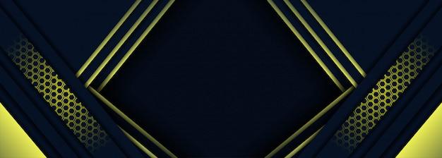 Dunkelblauer und gelber hintergrund der modernen technologie mit abstrakter art