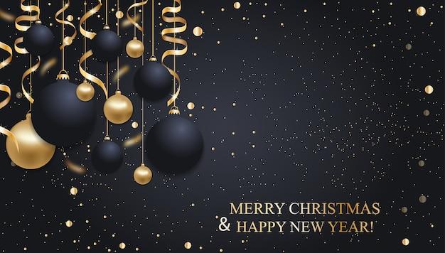 Dunkelblauer weihnachtshintergrund mit weihnachtskugeln und goldenen bändern. frohes neues jahr dekoration.