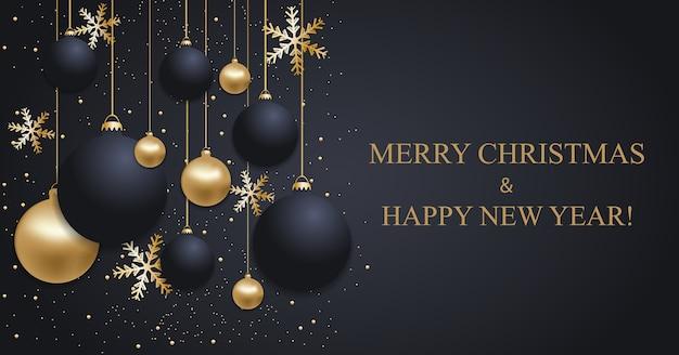Dunkelblauer weihnachtshintergrund mit weihnachtskugeln und goldenen schneeflocken. frohes neues jahr dekoration.