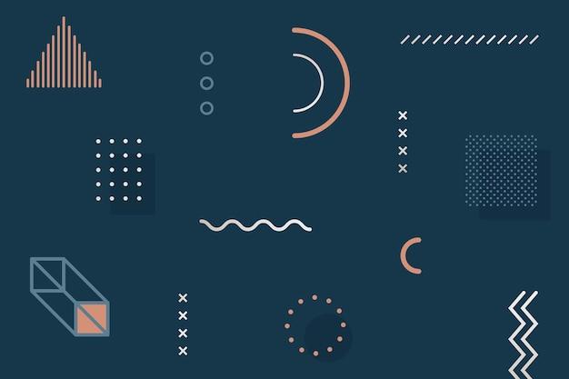 Dunkelblaues memphis-designelementpaket