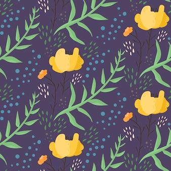 Dunkelblaues nachtblumenmuster mit orange blumen