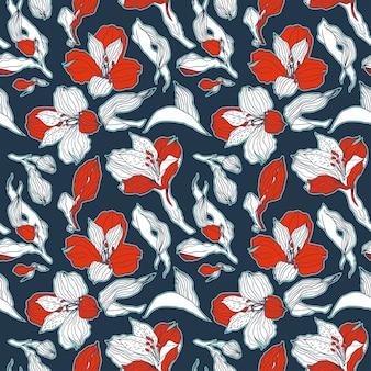 Dunkelblaues und rotes nahtloses muster mit hoch detalisierten alstroemeria-knospen und blüten