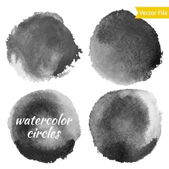 Dunkelgrau aquarell vektor kreise set. isolierte aquarellfarbe kreise auf weißem hintergrund. retro-hintergrund. handgezeichnete abstrakte grunge-form für business-hintergrund.