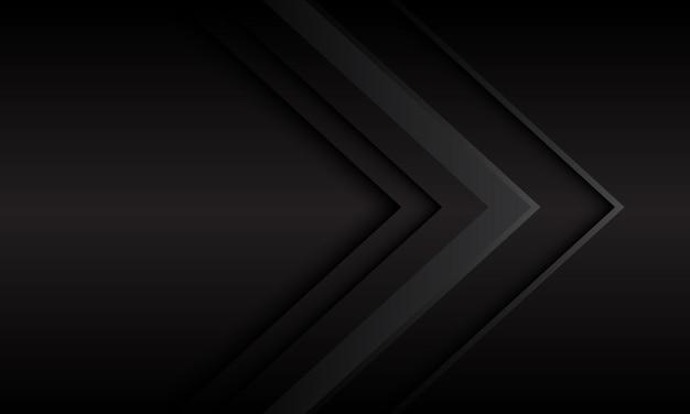Dunkelgraue metallische pfeilrichtung mit futuristischem hintergrund des leeren raums.
