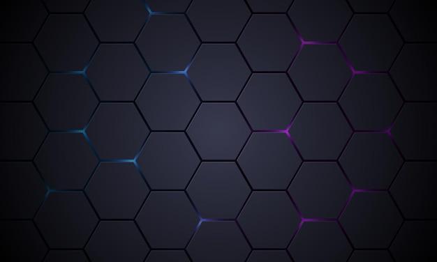 Dunkelgrauer d sechseckiger technologievektorzusammenfassungshintergrund
