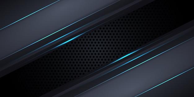 Dunkelgrauer hintergrund aus kohlefaser mit blauen leuchtenden linien und glanzlichtern.