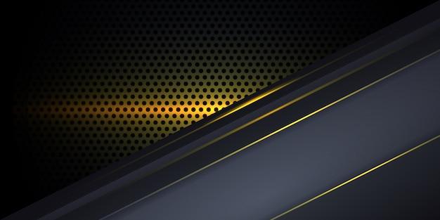 Dunkelgrauer hintergrund aus kohlefaser mit gelben leuchtenden linien und glanzlichtern.