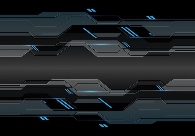 Dunkelgrauer metallischer cyberstromkreis mit blaulicht-energietechnologiehintergrund
