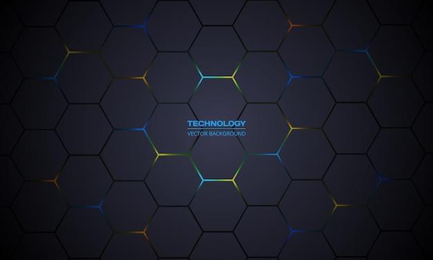 Dunkelgrauer sechseckiger technologievektorzusammenfassungshintergrund