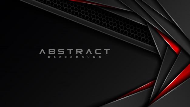 Dunkelgrauer und roter abstrakter überlappungshintergrund. carbon textur mit rotem metallischem highlight. futuristische design-vorlage für moderne technologie.