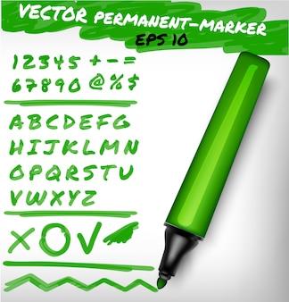 Dunkelgrüne farbe offener permanenter markierungsstift, handgeschriebener ziffernsatz, ziffern, zahlen- und alphabetprüfzeichen sowie pluszeile. filzstiftillustration
