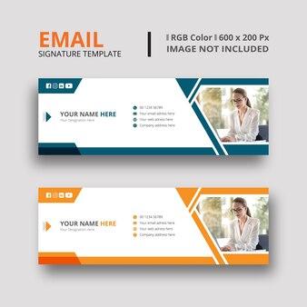 Dunkelgrünes und orangefarbenes e-mail-signatur-vorlagendesign