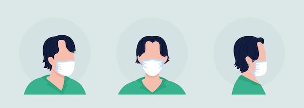 Dunkelhaariger, halbflacher farbvektor-charakteravatar mit maskensatz. porträt mit atemschutzmaske in vorder- und seitenansicht. isolierte moderne cartoon-stil-illustration für grafikdesign und animationspaket