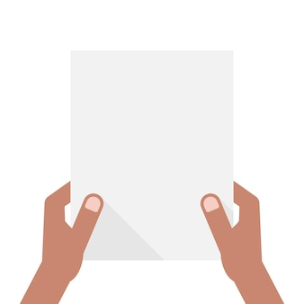 Dunkelhäutige hände, die ein blatt papier halten. konzept der ankündigung, einladung, überschrift, a4, checkliste, hinweis, vorführung, ui, test. flat style trend modernes design-vektor-illustration auf weißem hintergrund