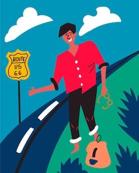 Dunkelhäutiger typ wählt highway 66 usa per anhalter reise durch amerika