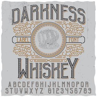 Dunkelheitswhiskyplakat mit bild des hölzernen fasses