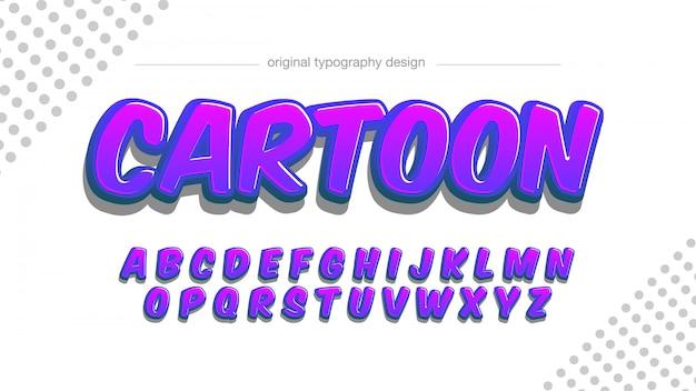 Dunkelpurpurne 3d-cartoon-typografie