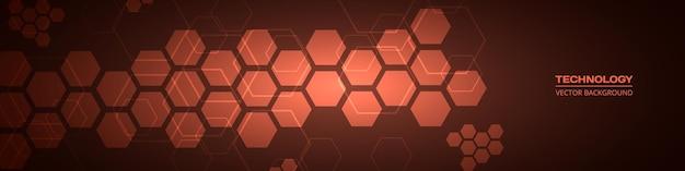 Dunkelroter abstrakter breiter hintergrund der technologie mit sechseckigen elementen