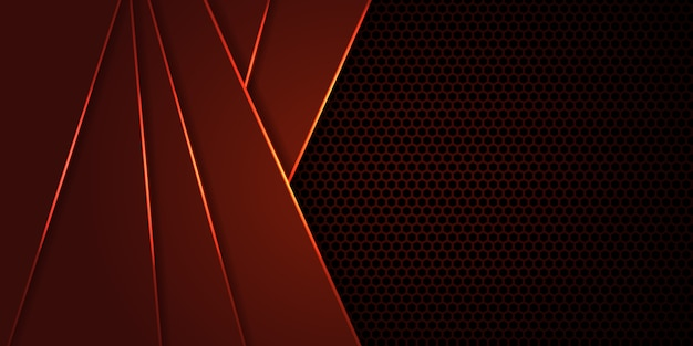 Dunkelroter hintergrund der hexagoncarbonfaser mit roten leuchtenden linien und höhepunkten.