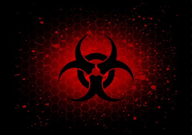 Dunkelroter hintergrund des abstrakten biohazard-symbols